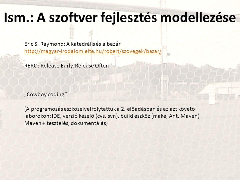 Ism.: A szoftver fejlesztés modellezése Eric S. Raymond: A katedrális és a bazár http://magyar-irodalom.elte.hu/robert/szovegek/bazar/ http://magyar-i