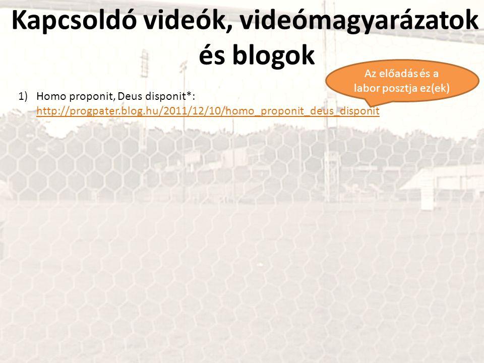 Kapcsoldó videók, videómagyarázatok és blogok 1)Homo proponit, Deus disponit*: http://progpater.blog.hu/2011/12/10/homo_proponit_deus_disponit http://