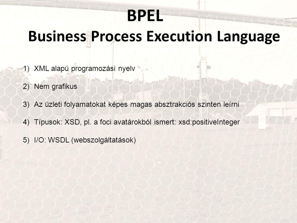 BPEL Business Process Execution Language 1)XML alapú programozási nyelv 2)Nem grafikus 3)Az üzleti folyamatokat képes magas absztrakciós szinten leírn