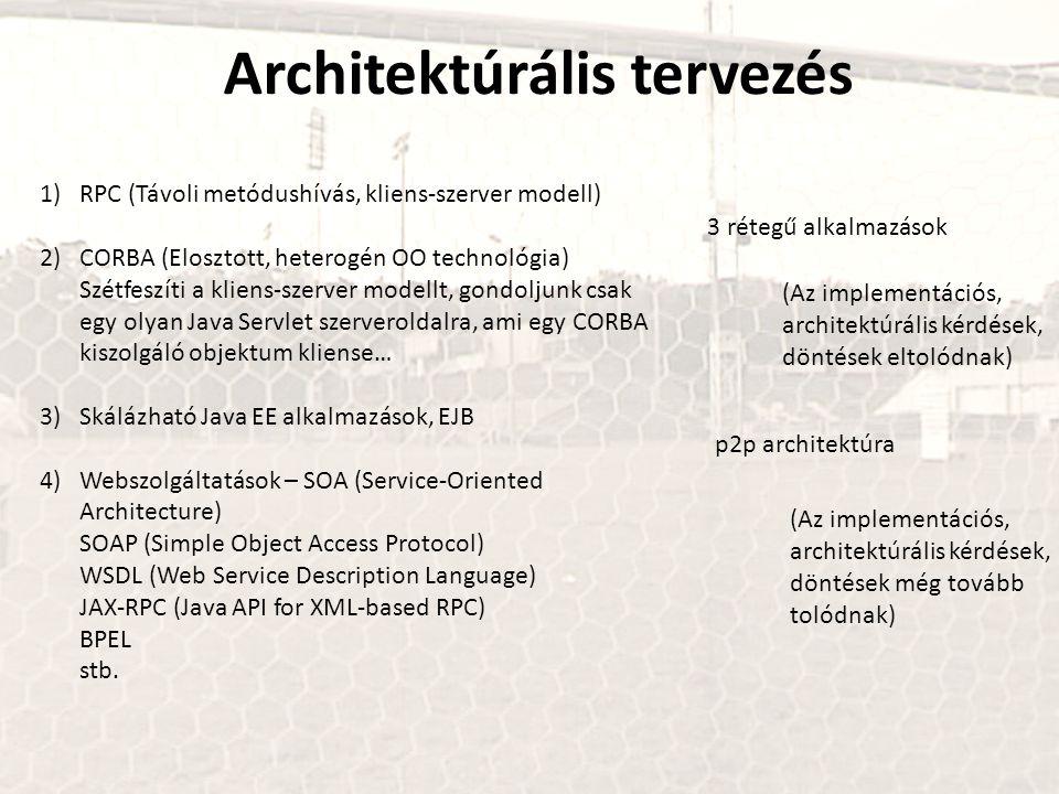 1)RPC (Távoli metódushívás, kliens-szerver modell) 2)CORBA (Elosztott, heterogén OO technológia) Szétfeszíti a kliens-szerver modellt, gondoljunk csak