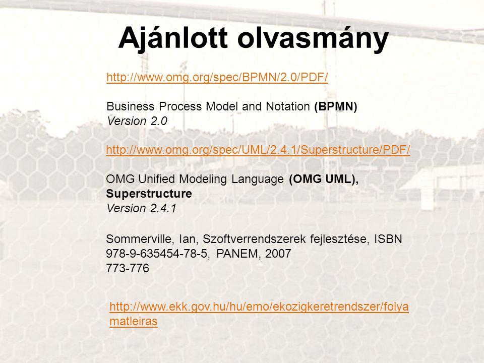 Ajánlott olvasmány http://www.omg.org/spec/UML/2.4.1/Superstructure/PDF/ OMG Unified Modeling Language (OMG UML), Superstructure Version 2.4.1 http://www.omg.org/spec/BPMN/2.0/PDF/ Business Process Model and Notation (BPMN) Version 2.0 Sommerville, Ian, Szoftverrendszerek fejlesztése, ISBN 978-9-635454-78-5, PANEM, 2007 773-776 http://www.ekk.gov.hu/hu/emo/ekozigkeretrendszer/folya matleiras