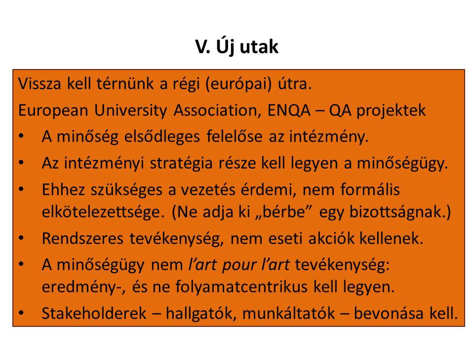 V. Új utak Vissza kell térnünk a régi (európai) útra. European University Association, ENQA – QA projektek A minőség elsődleges felelőse az intézmény.