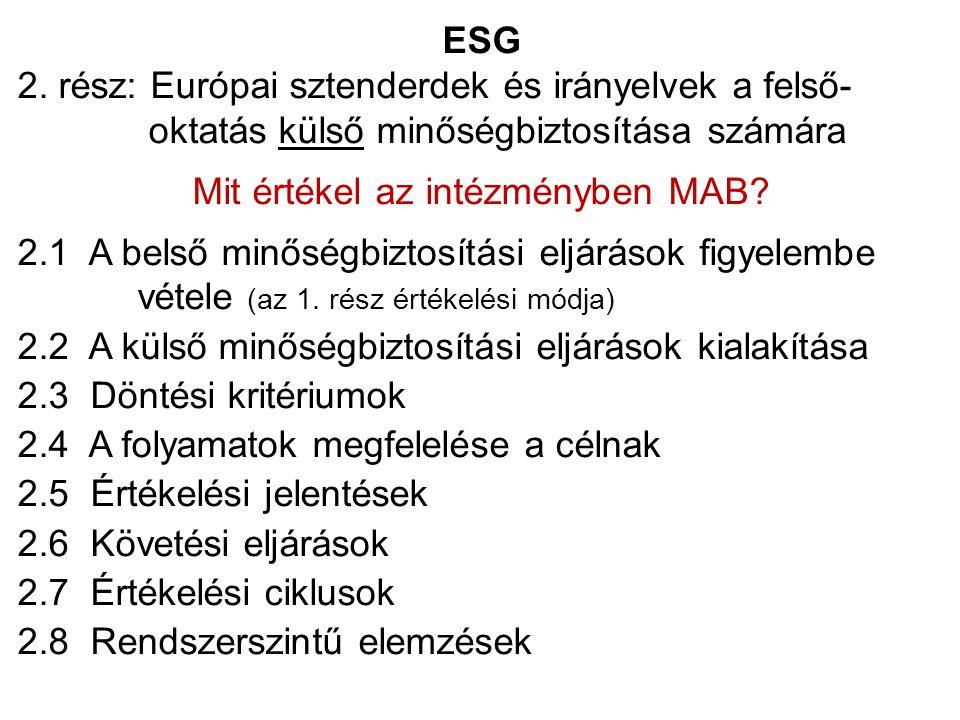ESG 2. rész: Európai sztenderdek és irányelvek a felső- oktatás külső minőségbiztosítása számára Mit értékel az intézményben MAB? 2.1 A belső minőségb