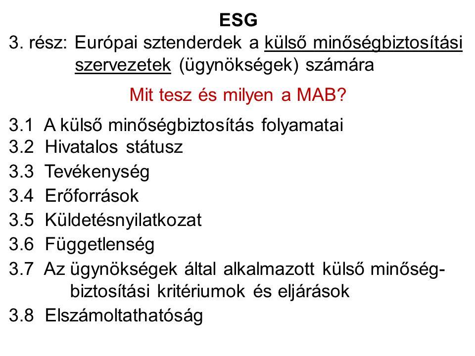 ESG 3. rész: Európai sztenderdek a külső minőségbiztosítási szervezetek (ügynökségek) számára Mit tesz és milyen a MAB? 3.1 A külső minőségbiztosítás