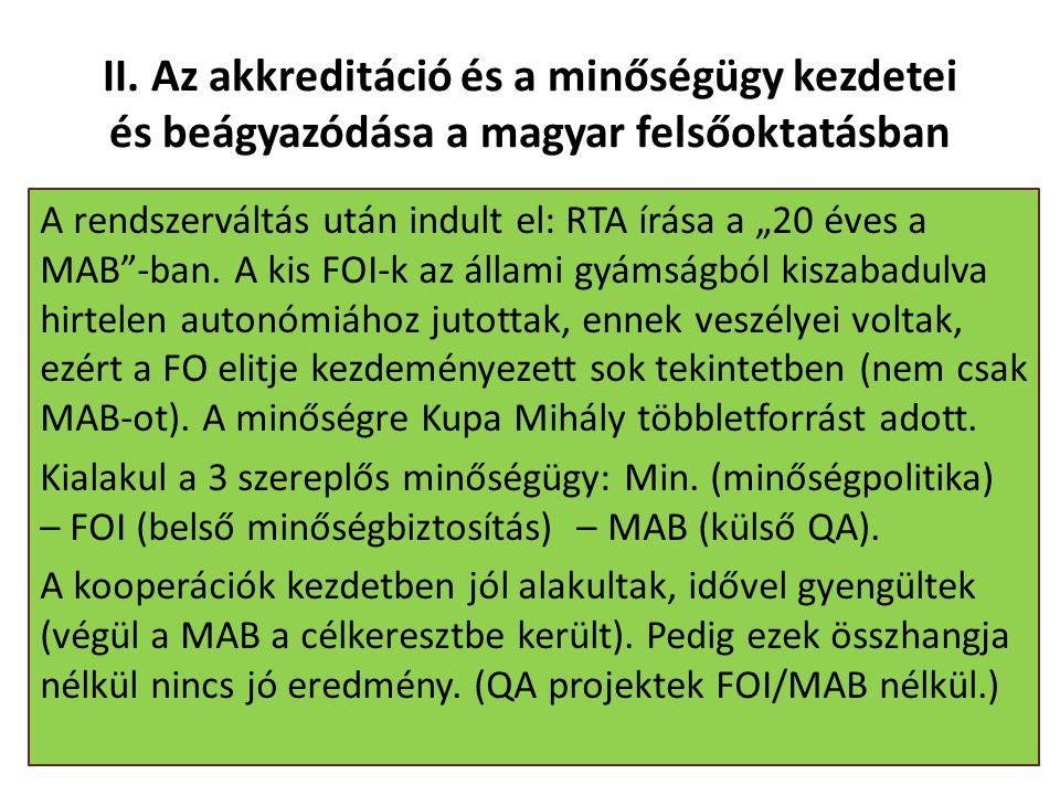 """II. Az akkreditáció és a minőségügy kezdetei és beágyazódása a magyar felsőoktatásban A rendszerváltás után indult el: RTA írása a """"20 éves a MAB""""-ban"""