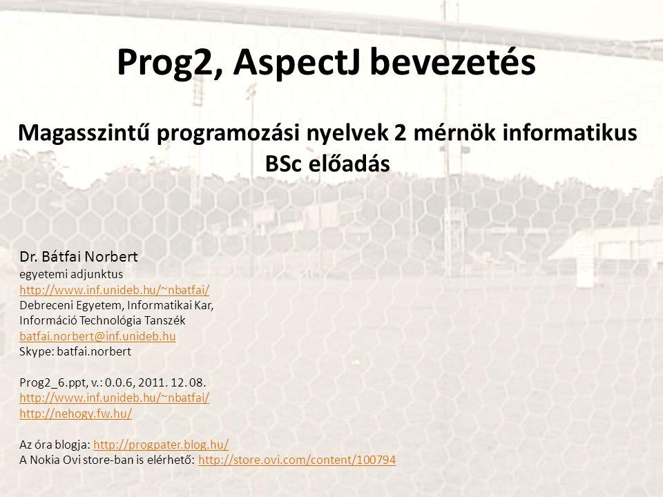 Prog2, AspectJ bevezetés Magasszintű programozási nyelvek 2 mérnök informatikus BSc előadás Dr.