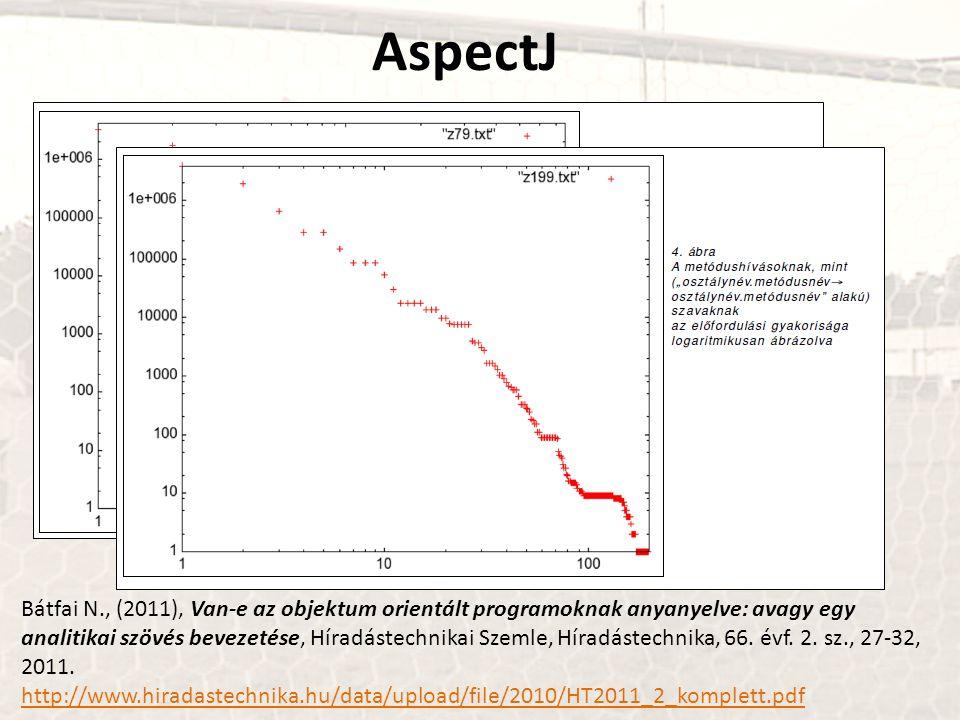 AspectJ Bátfai N., (2011), Van-e az objektum orientált programoknak anyanyelve: avagy egy analitikai szövés bevezetése, Híradástechnikai Szemle, Híradástechnika, 66.
