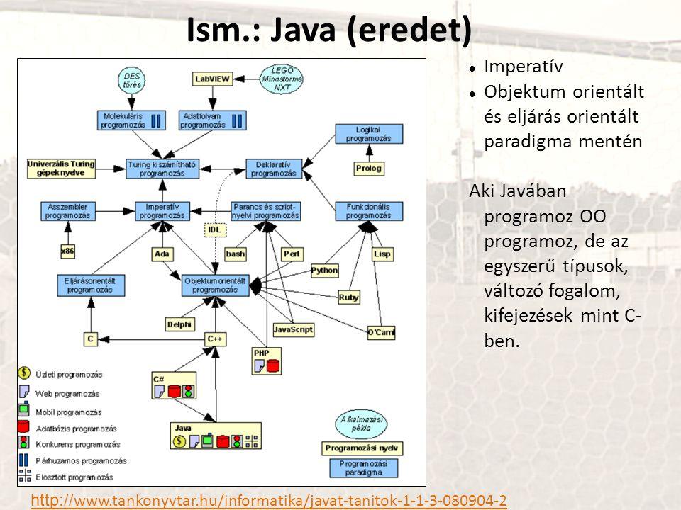Ism.: Java (eredet) http:// www.tankonyvtar.hu/informatika/javat-tanitok-1-1-3-080904-2 Imperatív Objektum orientált és eljárás orientált paradigma mentén Aki Javában programoz OO programoz, de az egyszerű típusok, változó fogalom, kifejezések mint C- ben.