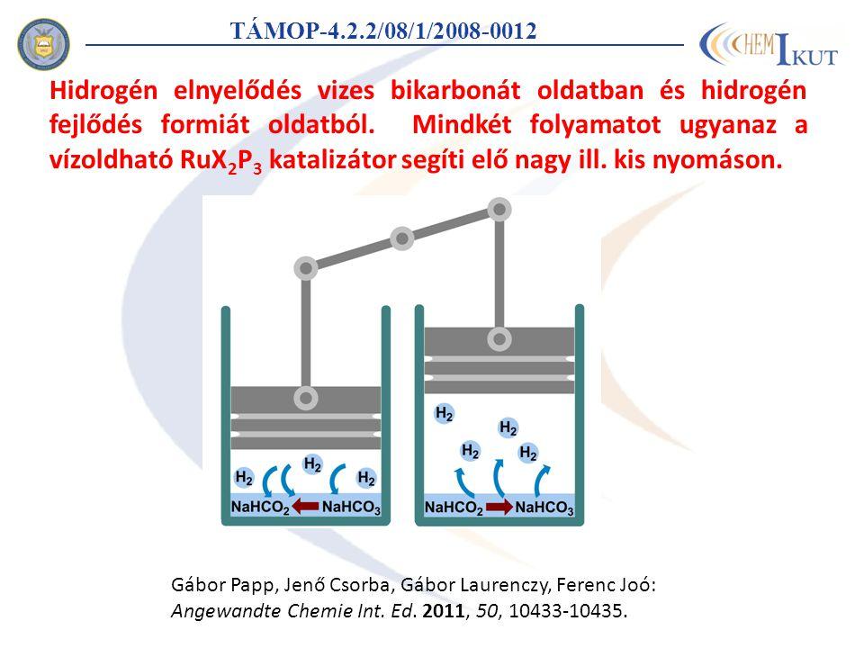 TÁMOP-4.2.2/08/1/2008-0012 Hidrogén elnyelődés vizes bikarbonát oldatban és hidrogén fejlődés formiát oldatból.