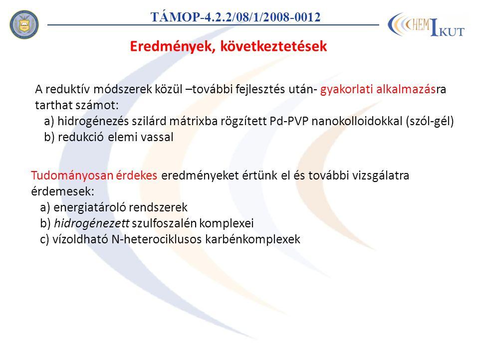 TÁMOP-4.2.2/08/1/2008-0012 Eredmények, következtetések A reduktív módszerek közül –további fejlesztés után- gyakorlati alkalmazásra tarthat számot: a) hidrogénezés szilárd mátrixba rögzített Pd-PVP nanokolloidokkal (szól-gél) b) redukció elemi vassal Tudományosan érdekes eredményeket értünk el és további vizsgálatra érdemesek: a) energiatároló rendszerek b) hidrogénezett szulfoszalén komplexei c) vízoldható N-heterociklusos karbénkomplexek