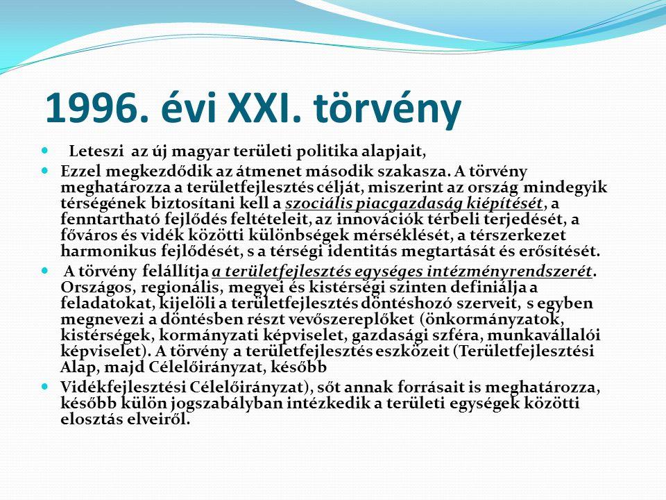 1996. évi XXI. törvény Leteszi az új magyar területi politika alapjait, Ezzel megkezdődik az átmenet második szakasza. A törvény meghatározza a terüle