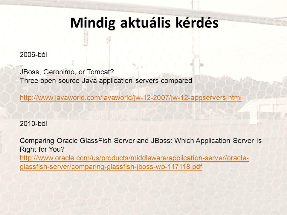Mindig aktuális kérdés 2006-ból JBoss, Geronimo, or Tomcat? Three open source Java application servers compared http://www.javaworld.com/javaworld/jw-