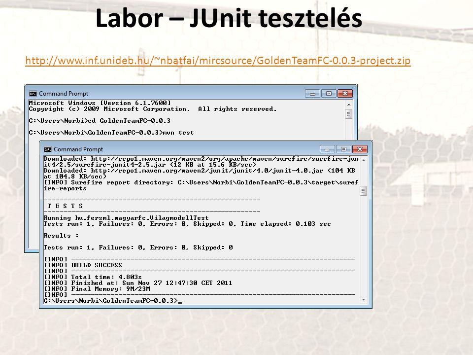 Labor – JUnit tesztelés http://www.inf.unideb.hu/~nbatfai/mircsource/GoldenTeamFC-0.0.3-project.zip