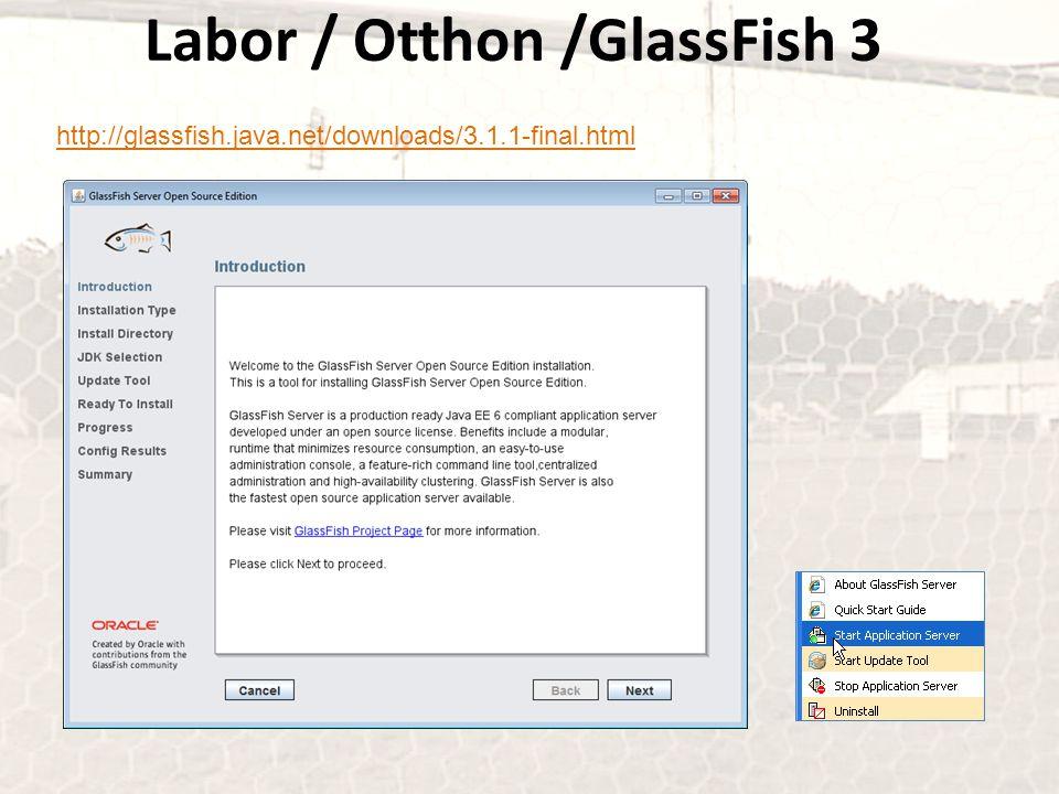 Labor / Otthon /GlassFish 3 http://glassfish.java.net/downloads/3.1.1-final.html