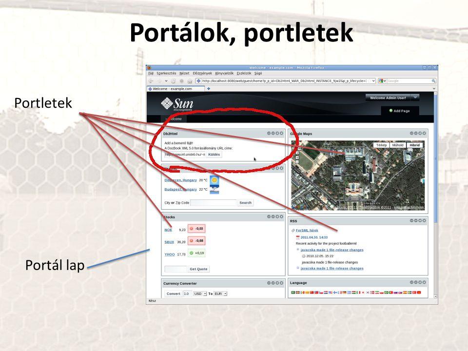 Portálok, portletek Portletek Portál lap