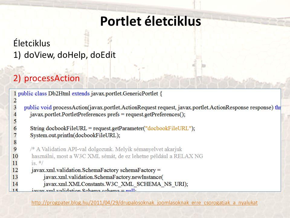 Portlet életciklus http://progpater.blog.hu/2011/04/29/drupalosoknak_joomlasoknak_erre_csorogatjak_a_nyalukat Életciklus 1)doView, doHelp, doEdit 2)processAction