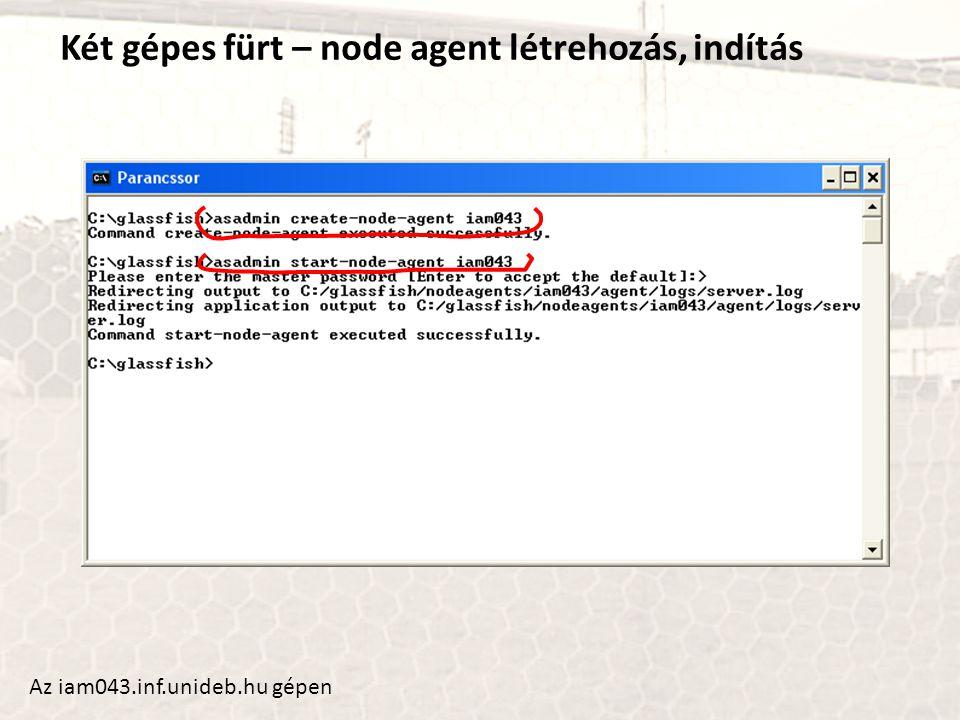 Két gépes fürt – node agent létrehozás, indítás Az iam043.inf.unideb.hu gépen