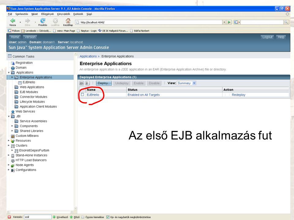Az első EJB alkalmazás fut