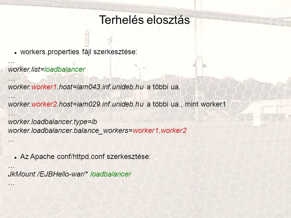 Terhelés elosztás workers.properties fájl szerkesztése: … worker.list=loadbalancer … worker.worker1.host=iam043.inf.unideb.hu a többi ua.
