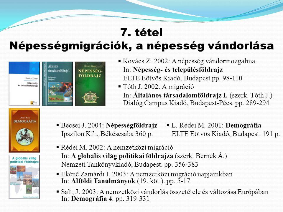  Kovács Z. 2002: A népesség vándormozgalma In: Népesség- és településföldrajz ELTE Eötvös Kiadó, Budapest pp. 98-110  Tóth J. 2002: A migráció In: Á
