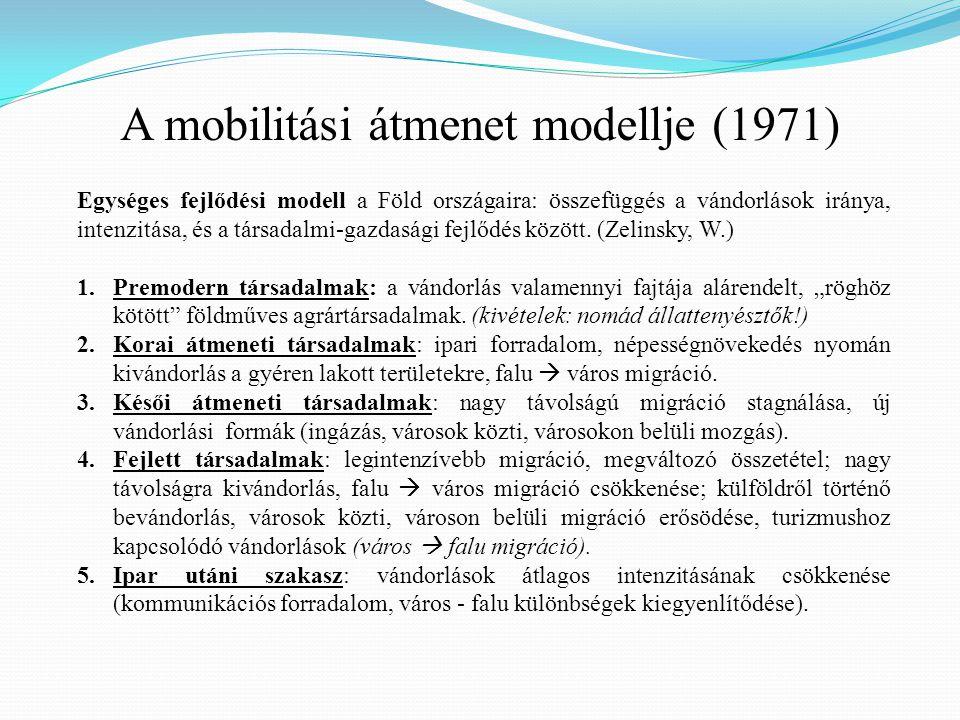 A mobilitási átmenet modellje (1971) Egységes fejlődési modell a Föld országaira: összefüggés a vándorlások iránya, intenzitása, és a társadalmi-gazda