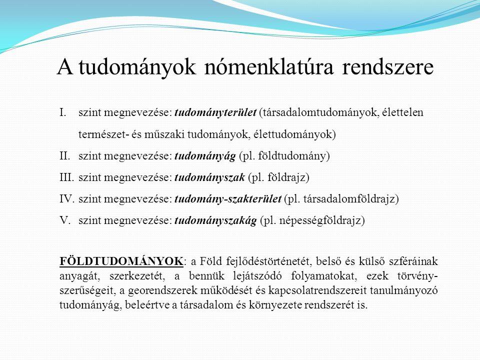 I.szint megnevezése: tudományterület (társadalomtudományok, élettelen természet- és műszaki tudományok, élettudományok) II.szint megnevezése: tudományág (pl.