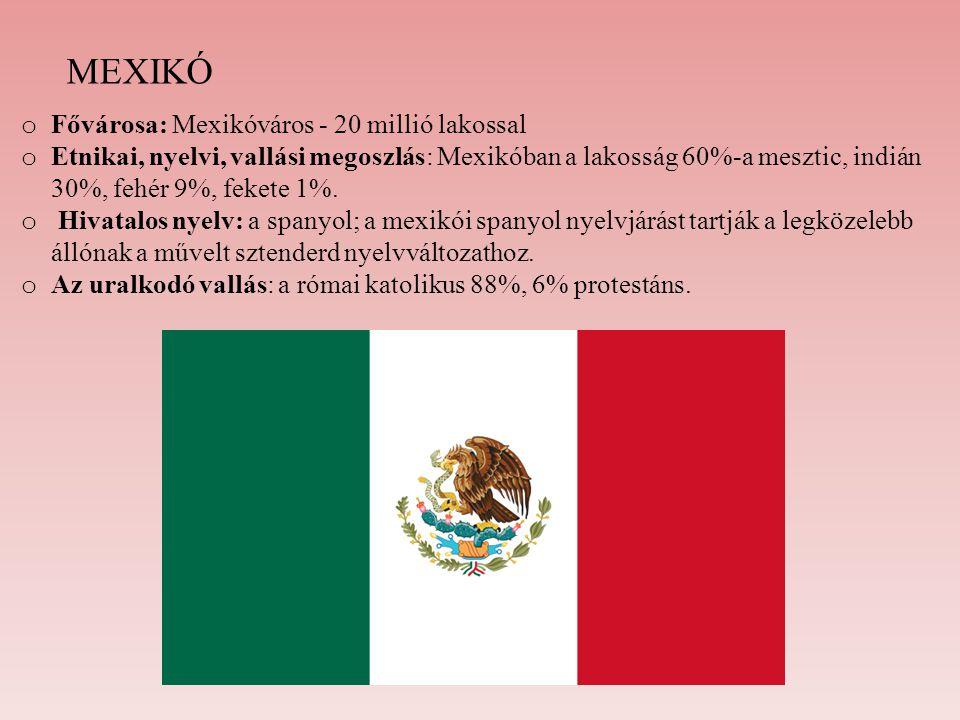 MEXIKÓ o Fővárosa: Mexikóváros - 20 millió lakossal o Etnikai, nyelvi, vallási megoszlás: Mexikóban a lakosság 60%-a mesztic, indián 30%, fehér 9%, fe