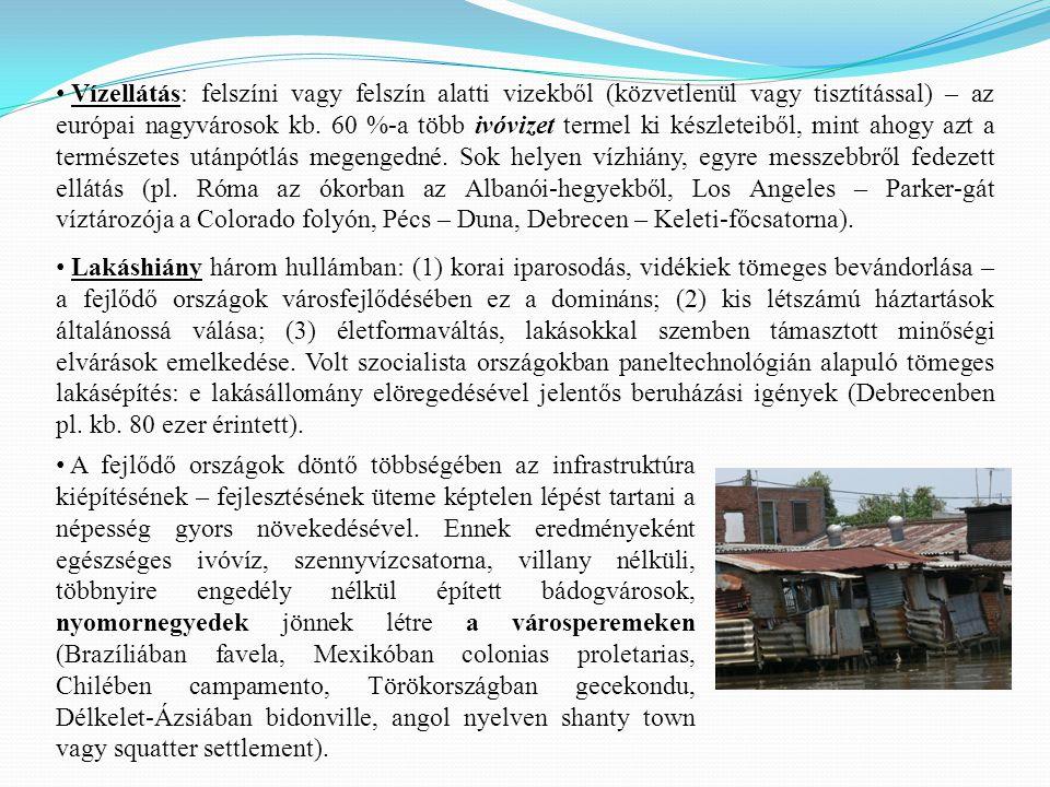 Lakáshiány három hullámban: (1) korai iparosodás, vidékiek tömeges bevándorlása – a fejlődő országok városfejlődésében ez a domináns; (2) kis létszámú