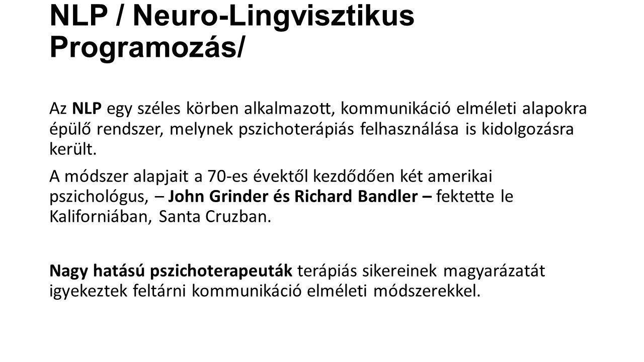 NLP / Neuro-Lingvisztikus Programozás/ Az NLP egy széles körben alkalmazott, kommunikáció elméleti alapokra épülő rendszer, melynek pszichoterápiás fe