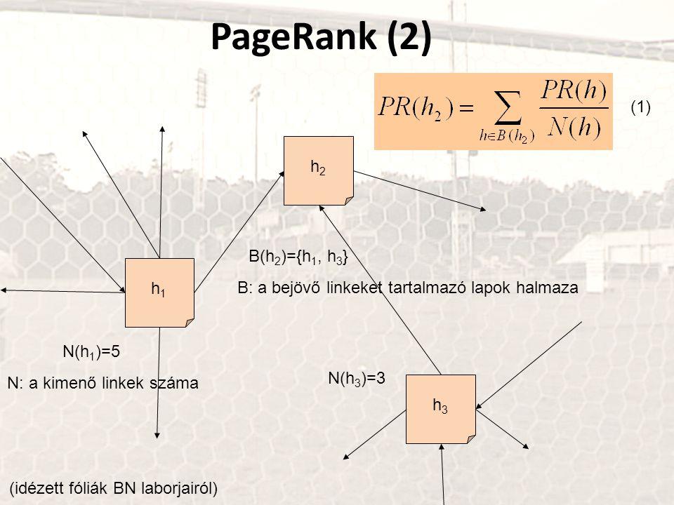 PageRank (2) h1h1 h2h2 h3h3 N(h 1 )=5 N(h 3 )=3 B(h 2 )={h 1, h 3 } (1) N: a kimenő linkek száma B: a bejövő linkeket tartalmazó lapok halmaza (idézet