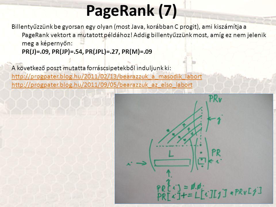 PageRank (7) Billentyűzzünk be gyorsan egy olyan (most Java, korábban C progit), ami kiszámítja a PageRank vektort a mutatott példához! Addig billenty