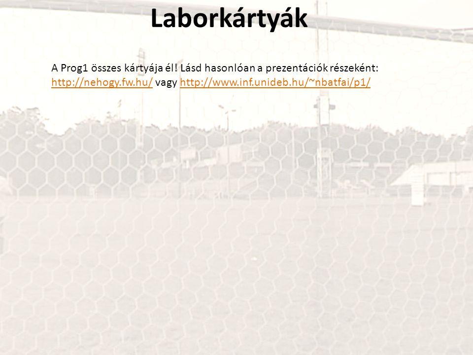 Laborkártyák A Prog1 összes kártyája él! Lásd hasonlóan a prezentációk részeként: http://nehogy.fw.hu/http://nehogy.fw.hu/ vagy http://www.inf.unideb.