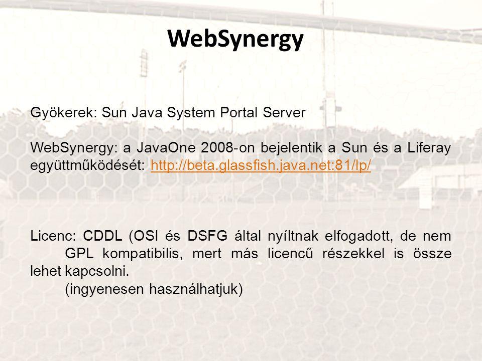 Gyökerek: Sun Java System Portal Server WebSynergy: a JavaOne 2008-on bejelentik a Sun és a Liferay együttműködését: http://beta.glassfish.java.net:81