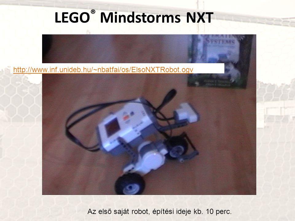 LEGO ® Mindstorms NXT Az első saját robot, építési ideje kb. 10 perc. http://www.inf.unideb.hu/~nbatfai/os/ElsoNXTRobot.ogv