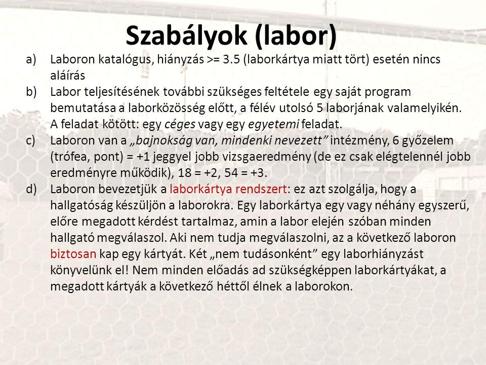 Szabályok (labor) a)Laboron katalógus, hiányzás >= 3.5 (laborkártya miatt tört) esetén nincs aláírás b)Labor teljesítésének további szükséges feltétel