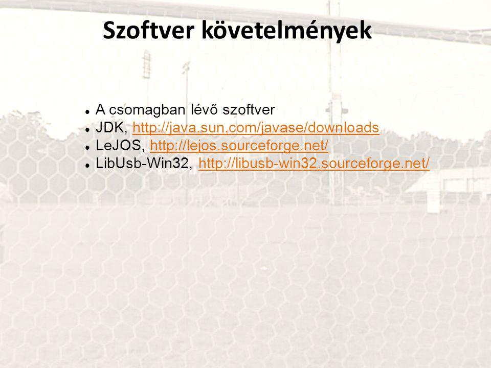 Szoftver követelmények A csomagban lévő szoftver JDK, http://java.sun.com/javase/downloadshttp://java.sun.com/javase/downloads LeJOS, http://lejos.sou