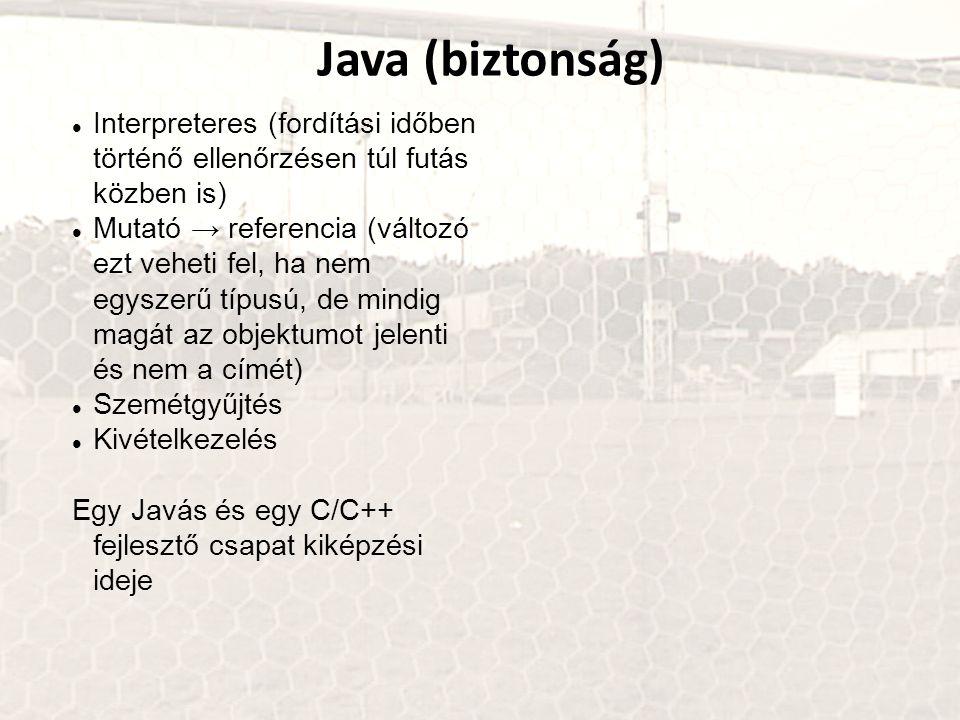Java (biztonság) Interpreteres (fordítási időben történő ellenőrzésen túl futás közben is) Mutató → referencia (változó ezt veheti fel, ha nem egyszer