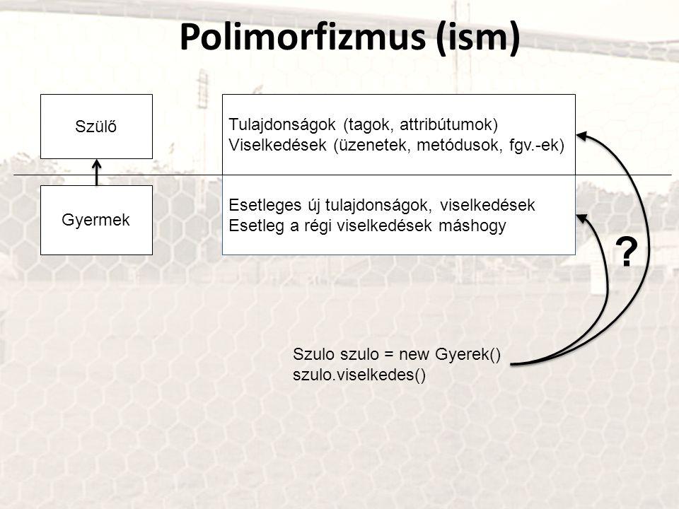 Polimorfizmus (ism) Szülő Gyermek Tulajdonságok (tagok, attribútumok) Viselkedések (üzenetek, metódusok, fgv.-ek) Esetleges új tulajdonságok, viselked