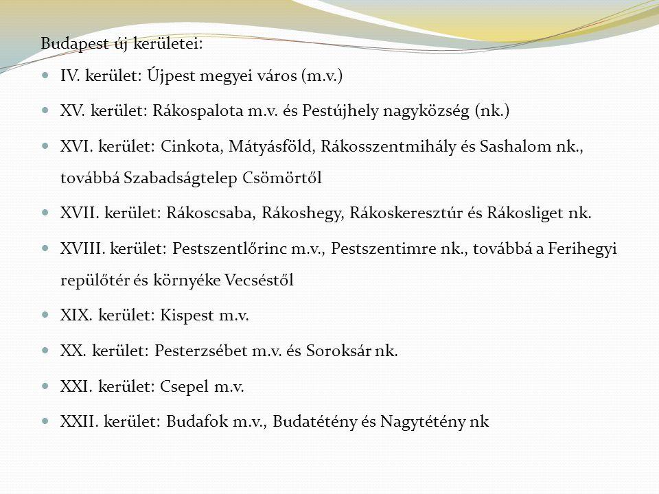 Budapest új kerületei: IV. kerület: Újpest megyei város (m.v.) XV.