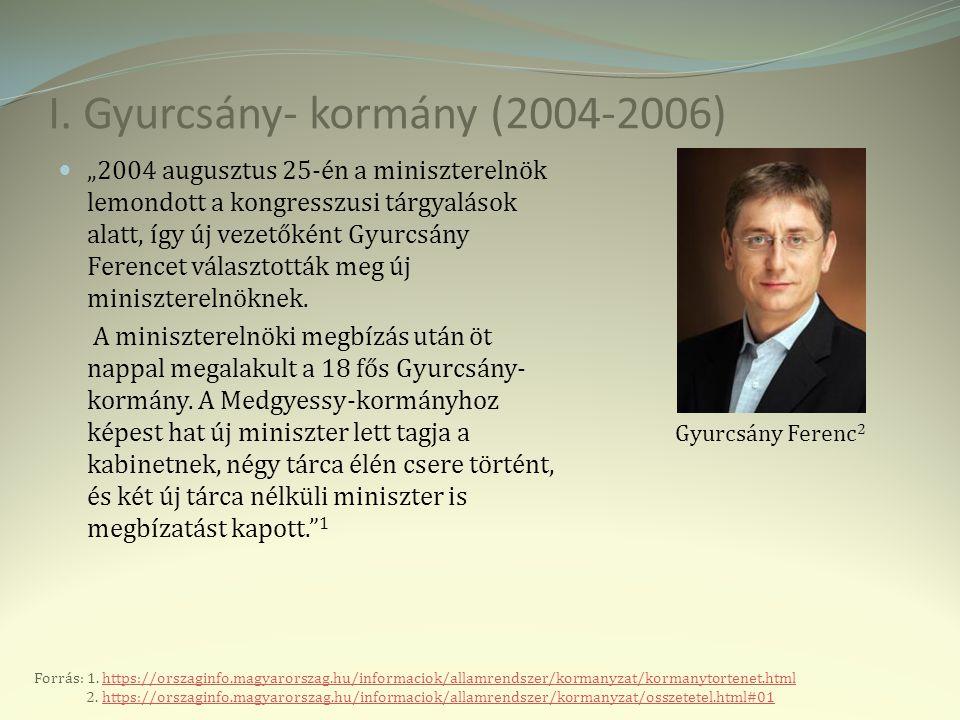 """I. Gyurcsány- kormány (2004-2006) """"2004 augusztus 25-én a miniszterelnök lemondott a kongresszusi tárgyalások alatt, így új vezetőként Gyurcsány Feren"""