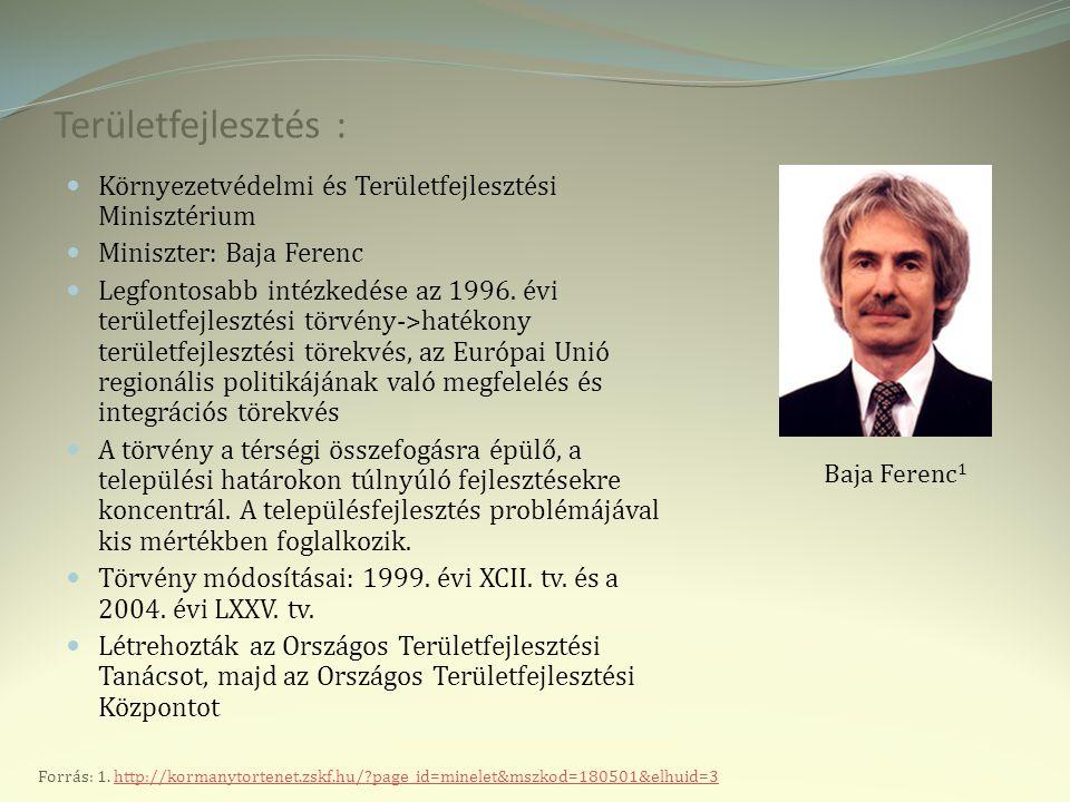 Területfejlesztés : Környezetvédelmi és Területfejlesztési Minisztérium Miniszter: Baja Ferenc Legfontosabb intézkedése az 1996.