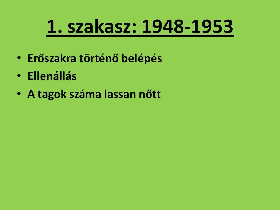 1. szakasz: 1948-1953 Erőszakra történő belépés Ellenállás A tagok száma lassan nőtt