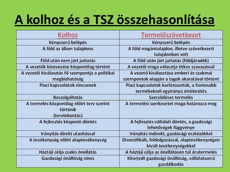 A kolhoz és a TSZ összehasonlítása