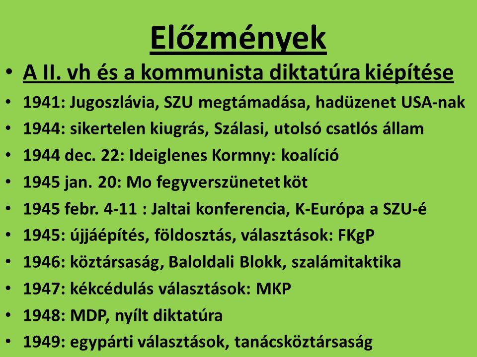"""A kommunista gazdaságpolitika Magyarországon Állami tulajdon, nincs magántulajdon Tervgazdálkodás, nehézipari beruházások 1947: első 3 éves terv 1950: első 5 éves terv """"A vas és acél országa Szocialista iparvárosok Mezőgazdaságban kollektivizálás"""