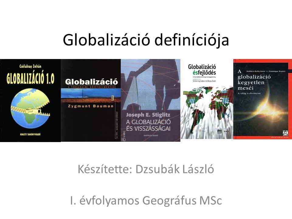 """Homogenizáció Zygmunt Bauman: """"gazdagok világa globálissá válik, a szegényeké lokális marad Gazdaság, társadalom és kultúra homogenizálódása Mivel a legtöbb amerikai amerikanizálódás Coca-Kolonizáció 1920-ban a kocsiknak az 50 %-át a Ford gyártotta, mégsem globalizációs termék Globalizációs termékre jellemző a globalizációs piac és a globalizációs marketing illetve a jól bevezetett és megbízható márkanév, amely a távoli piacokon is versenyképes Glokalizáció: (GLObalizáció + loKALIZÁCIÓ) amely által az ismert termék a helyi társadalom részévé válik és fordítva is igaz, illetve részben át is alakítva azt igazodik a helyi igényekhez (Magyaros ízek a McDonald's-ban)"""