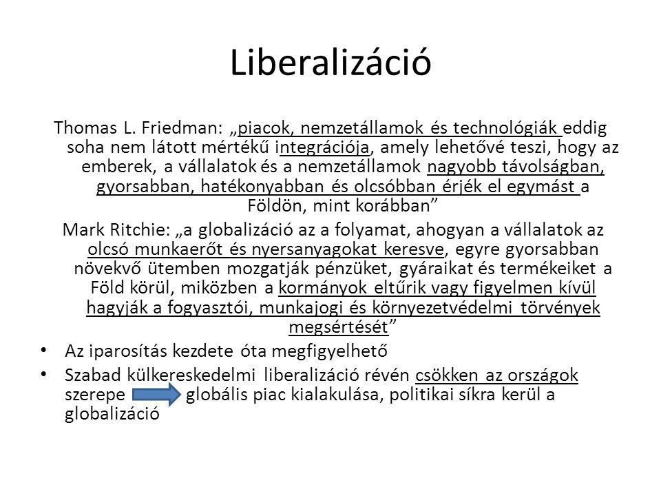 """Liberalizáció Thomas L. Friedman: """"piacok, nemzetállamok és technológiák eddig soha nem látott mértékű integrációja, amely lehetővé teszi, hogy az emb"""