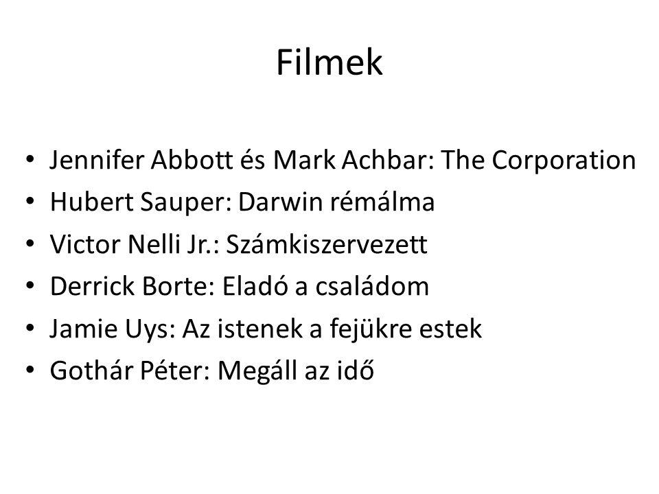 Filmek Jennifer Abbott és Mark Achbar: The Corporation Hubert Sauper: Darwin rémálma Victor Nelli Jr.: Számkiszervezett Derrick Borte: Eladó a családo