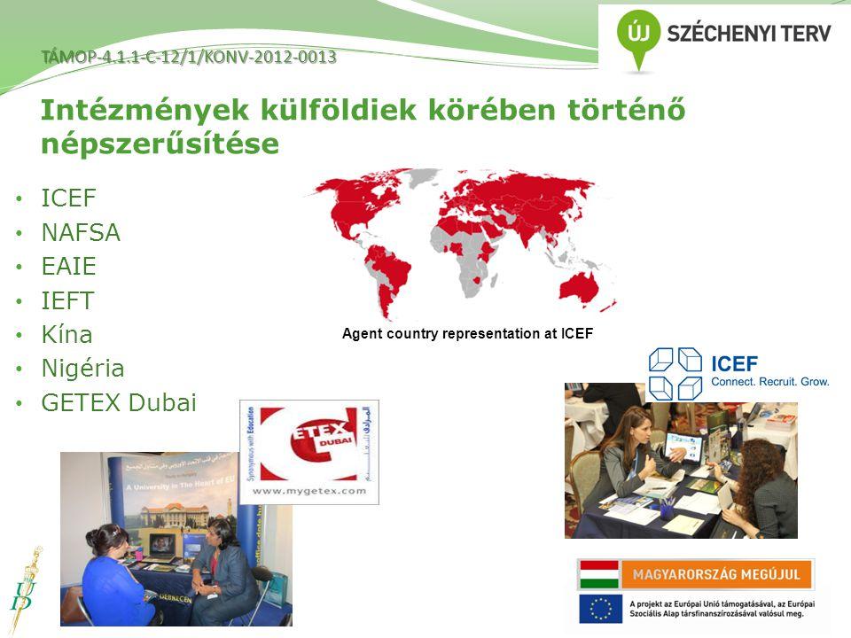 Intézmények külföldiek körében történő népszerűsítése ICEF NAFSA EAIE IEFT Kína Nigéria GETEX Dubai Agent country representation at ICEF TÁMOP-4.1.1-C-12/1/KONV-2012-0013