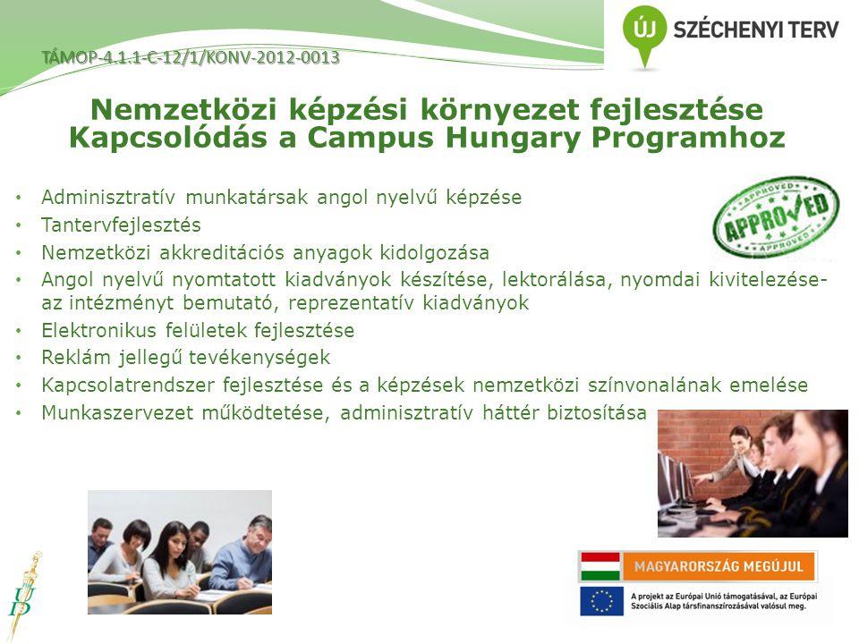 Adminisztratív munkatársak angol nyelvű képzése Tantervfejlesztés Nemzetközi akkreditációs anyagok kidolgozása Angol nyelvű nyomtatott kiadványok kész