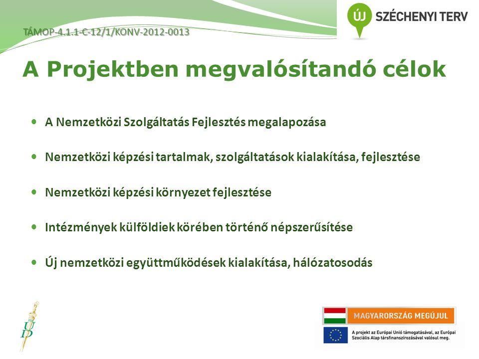 A Projektben megvalósítandó célok A Nemzetközi Szolgáltatás Fejlesztés megalapozása Nemzetközi képzési tartalmak, szolgáltatások kialakítása, fejlesztése Nemzetközi képzési környezet fejlesztése Intézmények külföldiek körében történő népszerűsítése Új nemzetközi együttműködések kialakítása, hálózatosodás TÁMOP-4.1.1-C-12/1/KONV-2012-0013